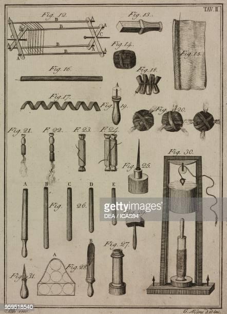 Tools and components for the making of wicks copperplate engraving by Gaetano M Alfano from Istituzioni di Pirotecnica per istruzione di coloro che...