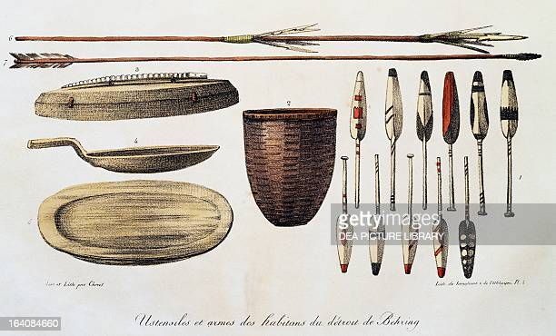 Tools and weapons of the inhabitants of Kamchatka, engraving from Picturesque voyages around the world, by Louis Choris from the expedition of...