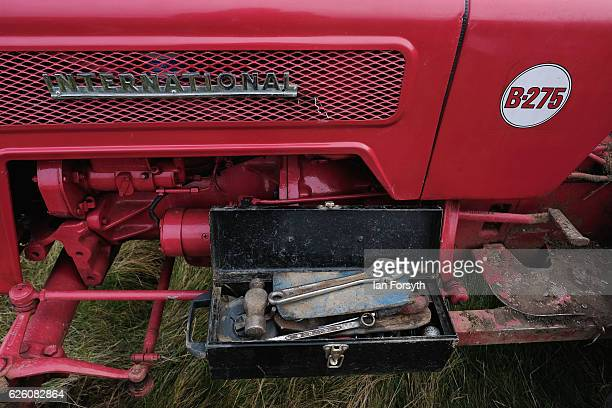 Tools are placed next to a tractor engine as final preparations are made ahead of the annual ploughing match on November 27, 2016 in Staithes, United...