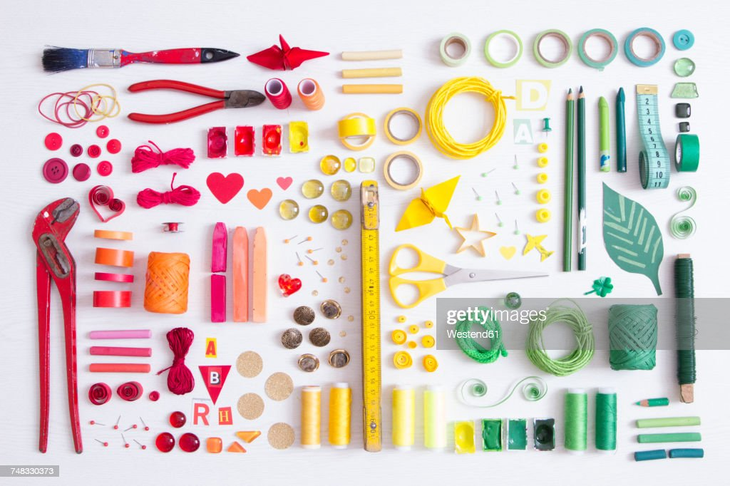 Tools, craft and painting materials on white ground : Stock Photo
