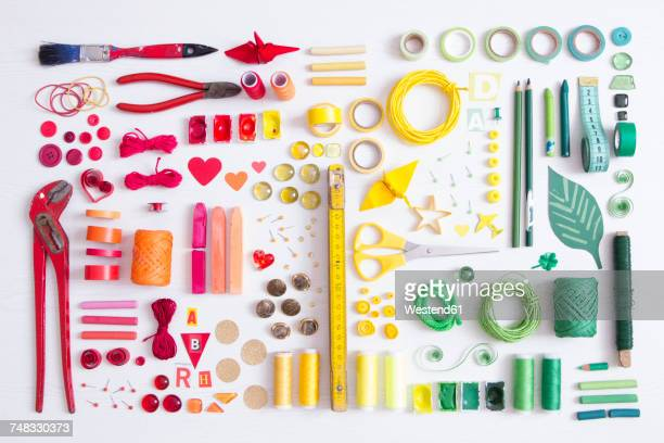 tools, craft and painting materials on white ground - stars and strings stock photos and pictures