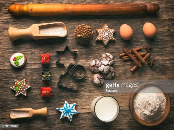 Herramientas para la preparación de galletas de jengibre Navidad