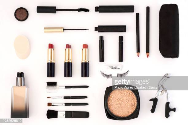 tools of a make-up artist - knolling concept stock pictures, royalty-free photos & images