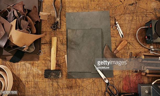 tools of the leather craft trade - leather stock pictures, royalty-free photos & images