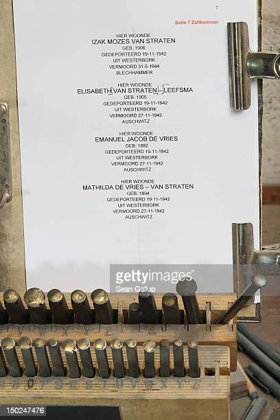 Tools used by artisan Michael Friedrichs-Friedlaender to pound text into the plaques of Stolpersteine, which are concrete cobblestone afixed with a...