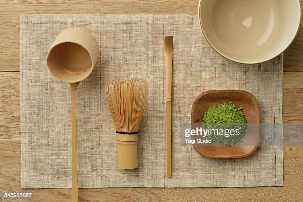 Tools used for a Japanese tea ceremony.