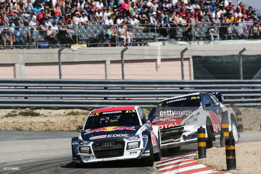 Toomas HEIKKINEN (FIN) in Audi S1 of EKS (L) and Timmy HANSEN (SWE) in Peugeot 208 of Team Peugeot-Hansen (R) in action during the World RX of Portugal 2017, at Montalegre International Circuit in Portugal on April 22, 2017.