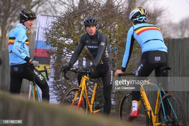 Toon Aerts of Belgium and Team Belgium / Thibau Nys of Belgium and Team Belgium / Sven Nys of Belgium general manager and owner of Team Telenet Fidea...