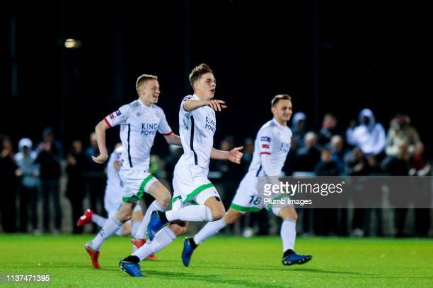 Toon Raemaekers of OH Leuven celebrating the victory of OH Leuven after winning the Reserve Pro League Cup match between OH Leuven Beloften and RSC...