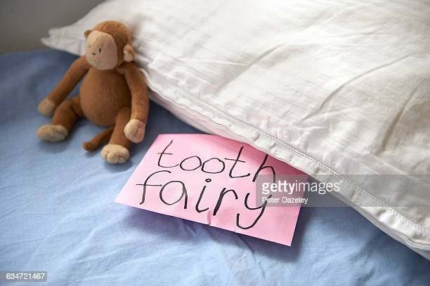 tooth fairy envelope under pillow - tooth fairy stock pictures, royalty-free photos & images