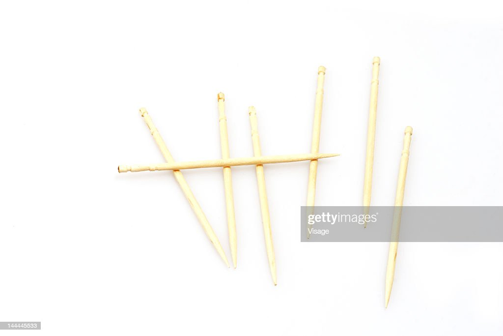 Tooth picks made to look like wickets : Stock Photo