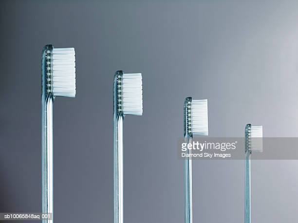 Toothbrushes in row, close-up