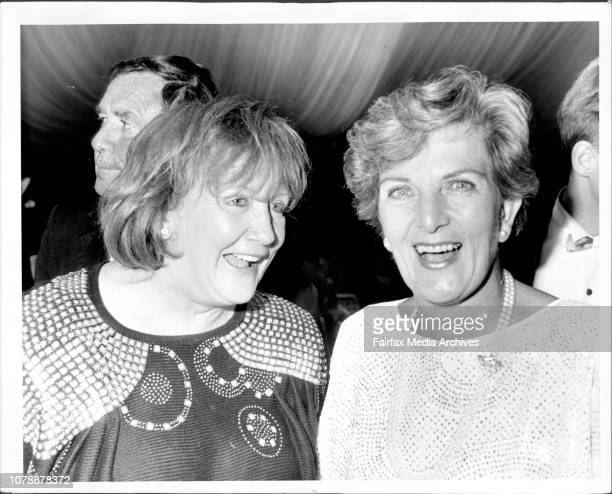 Toothy twosome Eileen Bond and Hazel Hawke at the Life Education do In the background the fishy Peter Doyle March 3 1987