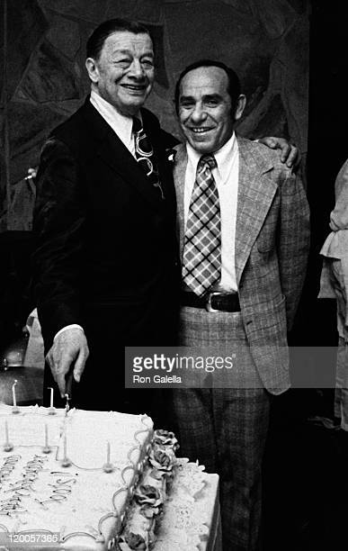Toots Shor and Yogi Berra attend 70th Birthday Party for Toots Shor on May 6 1973 in New York City