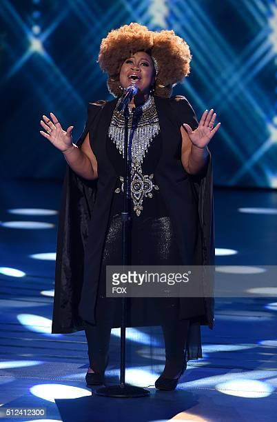 Top 10 contestant La'Porsha Renae performs onstage at FOX's American Idol Season 15 on February 25, 2016 in Hollywood, California.