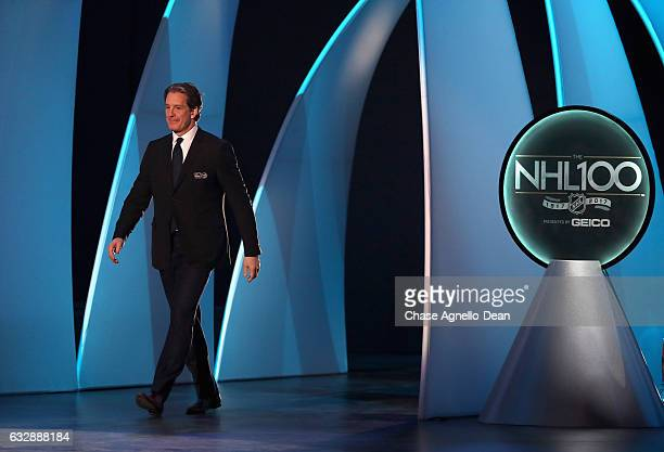 Top 100 player Brendan Shanahan walks onto the stage during the NHL 100 presented by GEICO show as part of the 2017 NHL AllStar Weekend at the...