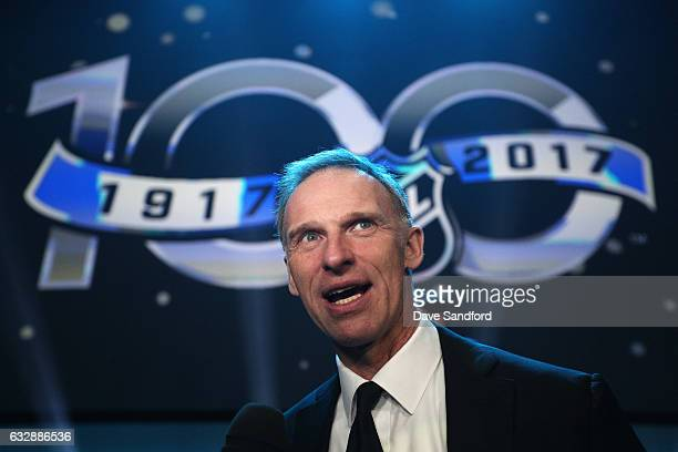 Top 100 player Dominik Hasek is interviewed after the NHL 100 presented by GEICO show as part of the 2017 NHL All-Star Weekend at the Microsoft...