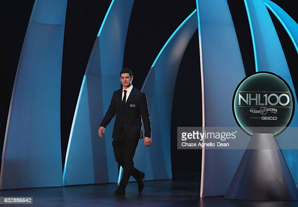 Top 100 player Sidney Crosby takes the stage during the NHL 100 presented by GEICO show as part of the 2017 NHL AllStar Weekend at the Microsoft...