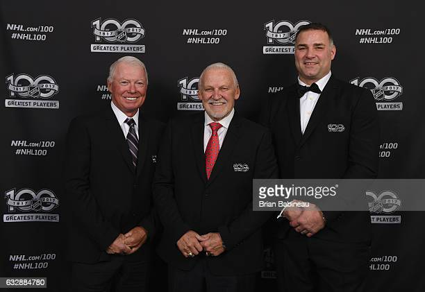 NHL Top 100 players Bobby Clarke Bernie Parent Eric Lindros pose for a portrait at the Microsoft Theater as part of the 2017 NHL AllStar Weekend on...