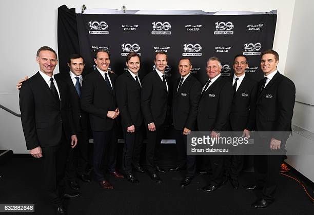 NHL Top 100 players Dominik Hasek Pavel Datsyuk Brendan Shanahan Sergei Fedorov Nicklas Lidstrom Steve Yzerman Brett Hull Chris Chelios and Luc...