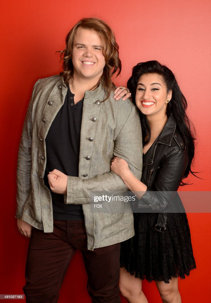 Top 2 contestants Caleb Johnson and Jena Irene backstage at FOX's 'American Idol XIII' Top 3 to 2 Live Performance Show on May 15, 2014 in Hollywood, California.