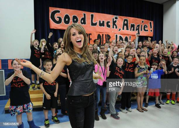Top 3 contestant Angie Miller visits her local grammer school during her hometown visit on May 4 2013 in Beverly Massachusetts