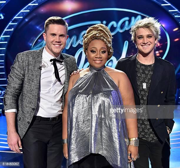 Top 3 contestants Trent Harmon, La'Porsha Renae and Dalton Rapattoni onstage at FOX's American Idol Season 15 on March 31, 2016 in Hollywood,...