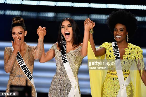 Top 3 finalists Miss South Africa 2017 DemiLeigh NelPeters Miss Colombia 2017 Laura Gonzalez and Miss Jamaica 2017 Davina Bennett compete during the...