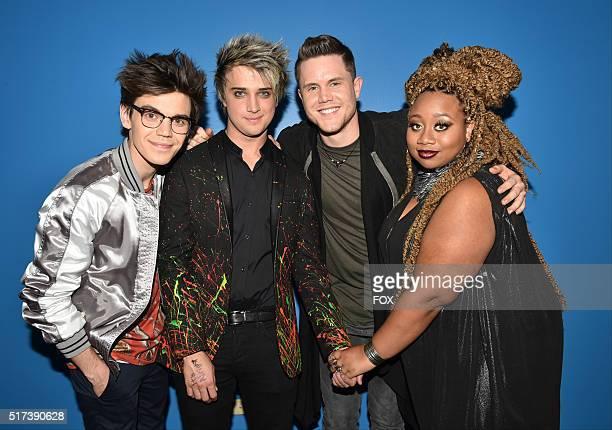 Top 4 contestants MacKenzie Bourg, Dalton Rapattoni, Trent Harmon and La'Porsha Renae backstage at FOX's American Idol Season 15 on March 24, 2016 in...