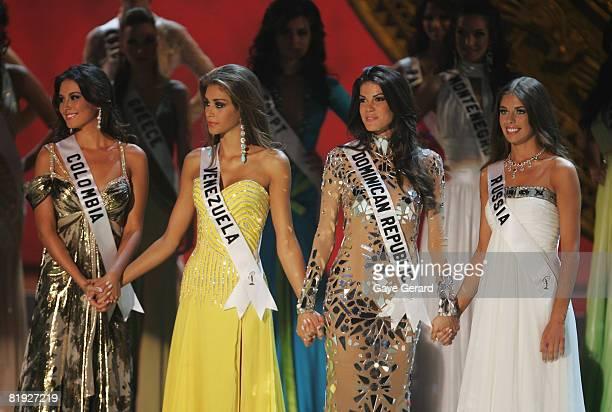 Top 4 Finalists Miss Colombia Taliana Vargas Miss Venezuela Dayana Mendoza Miss Dominian Republic Marianne Cruz Gonzalez and Miss Russia Vera Krasova...