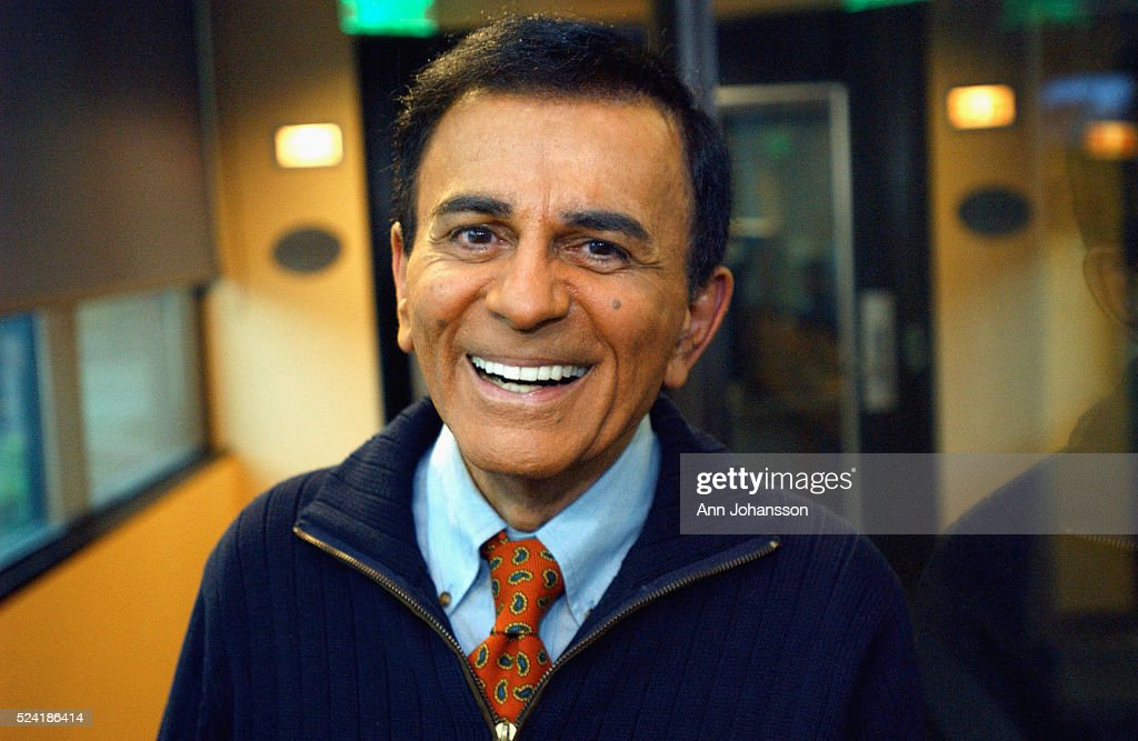 Top 40 radio host Casey Kasem poses by his studio at Premier