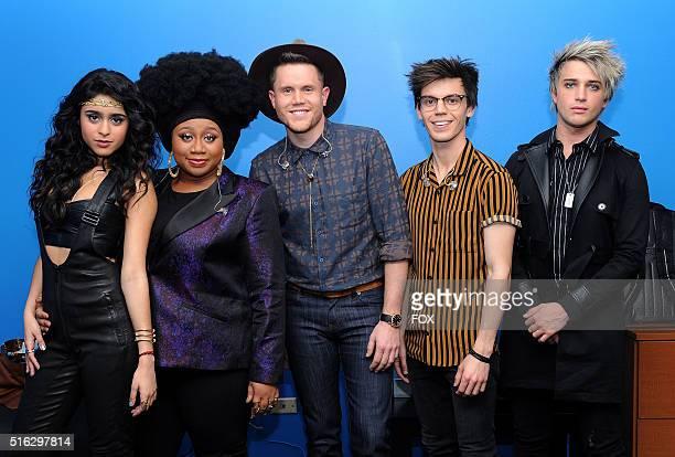 Top 5 contestants Sonika Vaid, La'Porsha Renae, Trent Harmon, MacKenzie Bourg and Dalton Rapattoni backstage at FOX's American Idol Season 15 on...