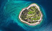 Top aerial view of desert island, Brijuni park, Croatia