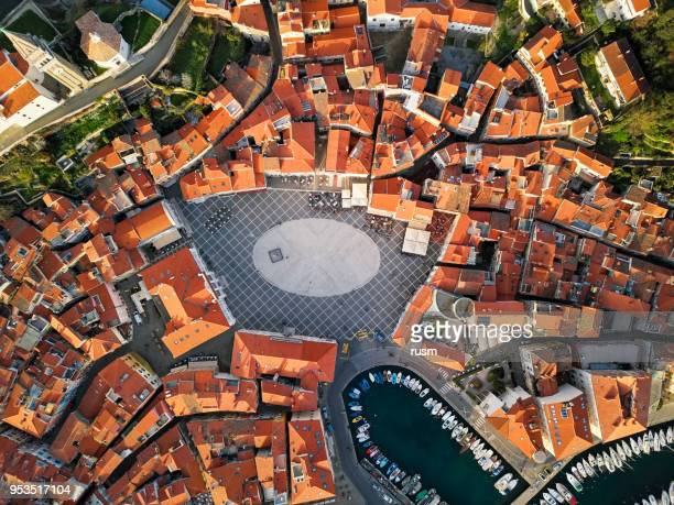 top aerial view of old town piran, slovenia - slovenia stock pictures, royalty-free photos & images