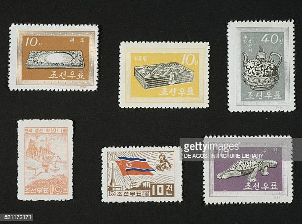 Top and bottom right postage stamps from the series honouring Furnishings depicting plate box teapot and turtle shaped ornament bottom postage stamp...