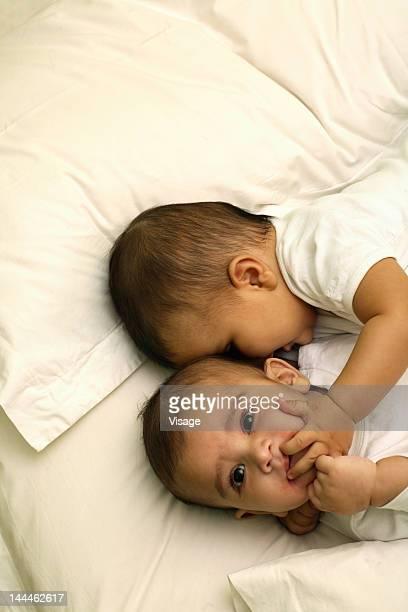 Top angle view of babies