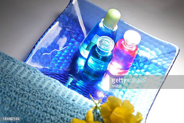 Top angle view of small bottles on a tray