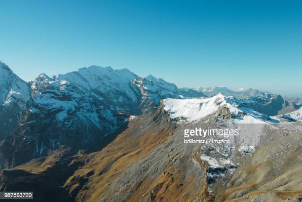 Top Angle View of the Snow-covered Alps, Swiss