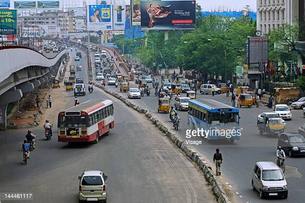 Top angle view of traffic on road