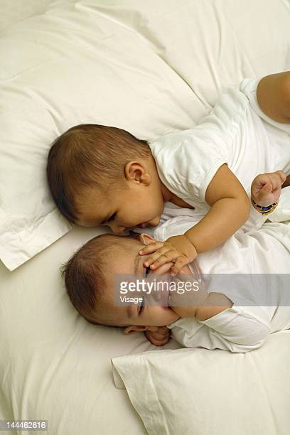 Top angle view of two babies