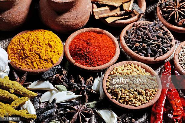 Top angle view of various spices