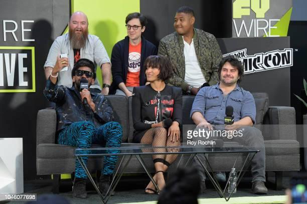 Top Ant Ward Josh Brener Omar Miller Bottom Brandon Smith Kat Graham and Andy Suriano speak onstage at the Rise of the Teenage Mutant Ninja Turtles...