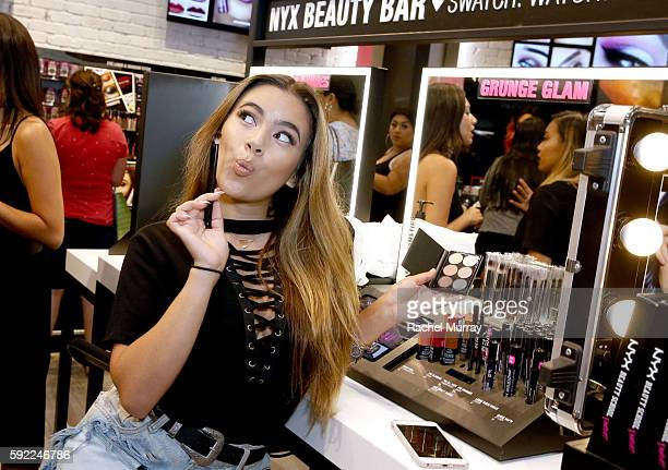 Top Beauty Influencer Adelaine Morin @adelainemorin shops instore before kicking off her Influencer Meet Greet with fans during the NYX Professional...