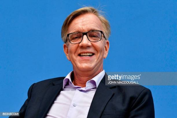 Top candidate of Die Linke party Dietmar Bartsch attends a press conference in Berlin on September 25 one day after general elections Germany voted...