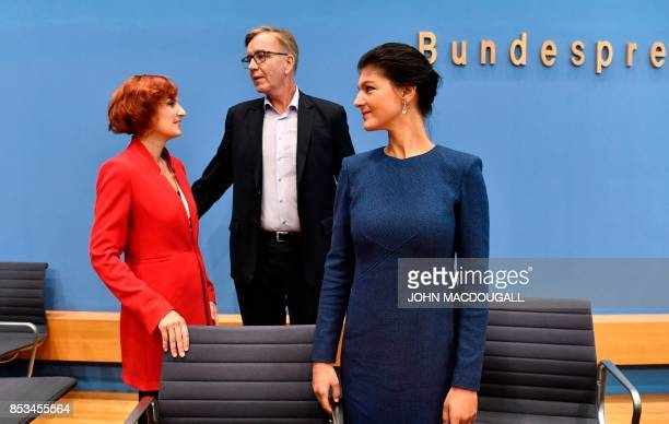 Top candidate of Die Linke party Sahra Wagenknecht and Dietmar Bartsch together with coleader of Die Linke Katja Kipping are seen prior a press...