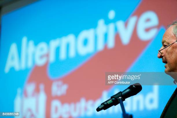Top candidate of Germany's antiIslam antiimmigration AfD party for upcoming general elections Alexander Gauland gives a speech during an election...