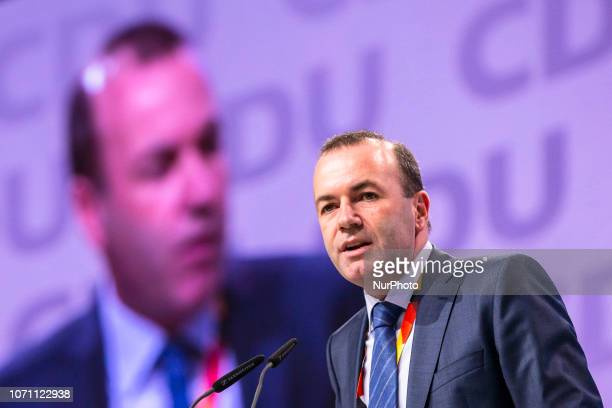 Top candidate of the European People's Party for 2019 European elections and CSU politician Manfred Weber speaks during the 31 Party Congress at the...