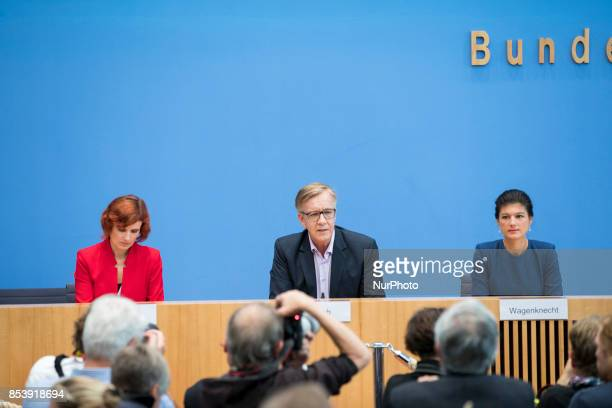 Top candidates of Die Linke party Sahra Wagenknecht and Dietmar Bartsch and CoLeader Katja Kipping are pictured during a press conference in Berlin...