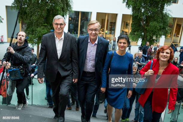 Top candidates of Die Linke party Sahra Wagenknecht and Dietmar Bartsch and CoLeaders Katja Kipping and Bernd Riexinger arive to a press conference...