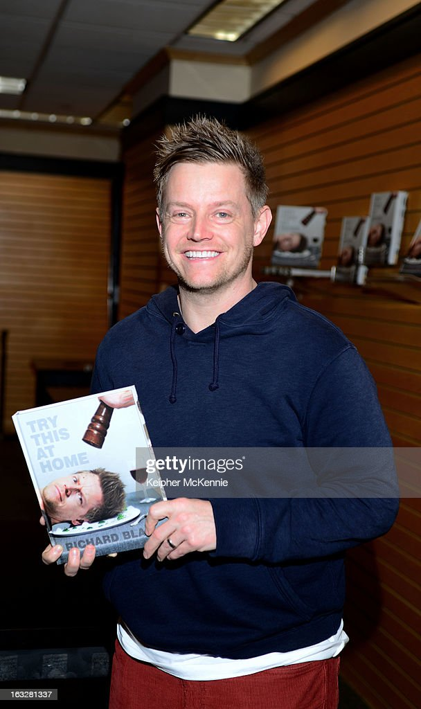 Top Chef All-Star winner Richard Blais signs copies of his new book 'Try This At Home: Recipes From My Head To Your Plate' at Barnes & Noble 3rd Street Promenade on March 6, 2013 in Santa Monica, California.